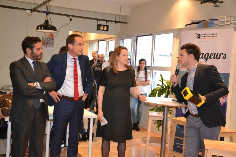 Photo de Axelle Lemaire, Patrice Bessac et Jeremy Lachal à Montreuil