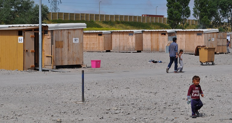 Photo de réfugiés dans le camp de Grande-Synthe en France