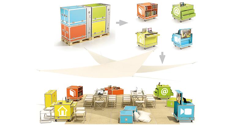 Photo 3D de l'Ideas Box ouverte et fermée