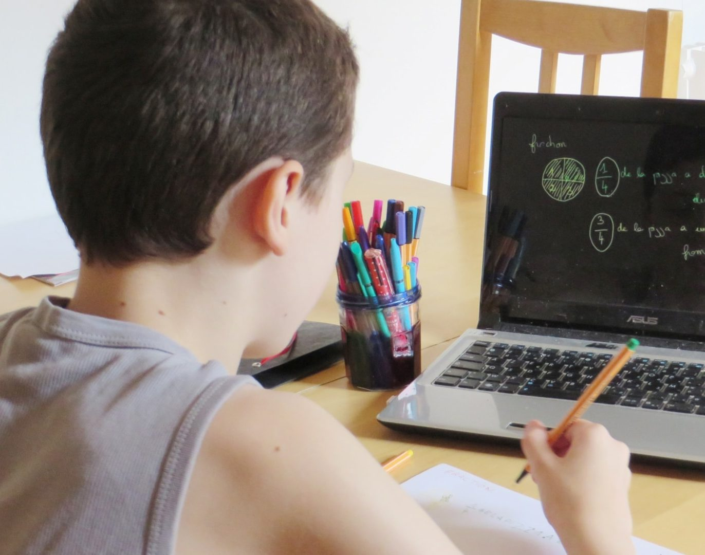 Picture of a boy doing Khan Academy exercises on a computer