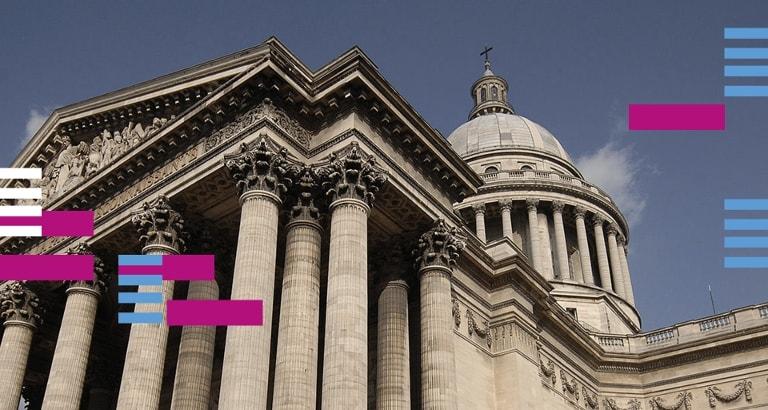 Photo du Panthéon avec la charte de l'événement #BibliOPanthéon