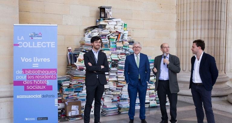 Photo de Philippe Bélaval, Patrick Weil, Jérémy Lachal et Gaetan Bruel au lancement de #BibliOPanthéon