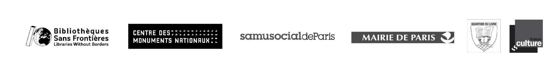 logos de Bibliothèques sans frontières, du Centre des monuments nationaux, du samu social de paris, de la mairie de paris, de quartier du livre et de france culture