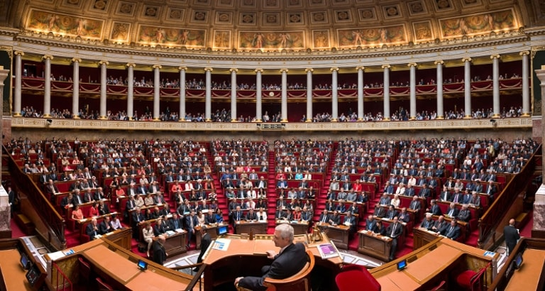 Photo de l'hémicycle de l'Assemblée Nationale au Palais Bourbon