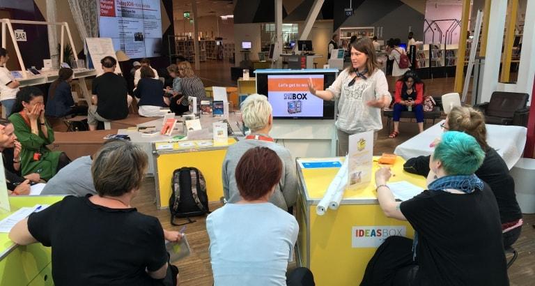 Photo d'un atelier avec des bibliothécaires suédois à Stockholm